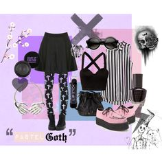 """Pastel Goth"" by annapastelpanda on Polyvore #pastelgoth #nugoth"
