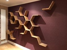 Custom Designed Broken Honeycomb Shelves Hexagon Shelving on Home Shelves Ideas 8598 Geometric Shelves, Honeycomb Shelves, Tv Wall Design, Shelf Design, Hexagon Wall Shelf, Peacock Wall Art, Modern Apartment Design, Floating Shelf Decor, Picture Shelves
