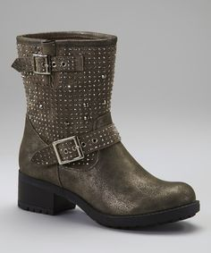 Taupe Stud Biker Boot | Daily deals for moms, babies and kids