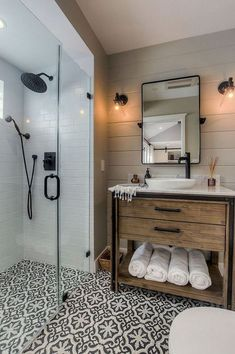 80 guest bathroom makeover decor ideas for a . - 80 guest bathroom makeover decor ideas for a budget - Modern Farmhouse Bathroom, Rustic Farmhouse, Farmhouse Design, Farmhouse Ideas, Farmhouse Remodel, Farmhouse Vanity, Modern Bathrooms, Urban Farmhouse, Best Bathrooms