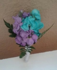 Turquoise and Lavender stock Boutonniere #turquoiselavenderboutonniere #turquoiseboutonniere #mybouquetlv
