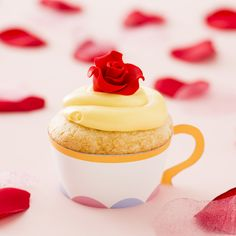 How to Make Beauty and the Beast Inspired Tea Cupcakes