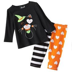 Jumping Beans Halloween Cat Babydoll Top and Leggings Set - Baby (the pants are too cute)