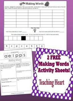 Classroom Freebies: Free Making Words Printables...