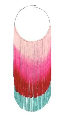Color gradient fringe, double layer,   knotted around metal choker.