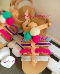 Funky princess!!!! Handmade leather sandals