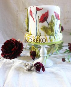 Hand Painted Poppies Cake