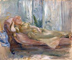 Berthe Morisot, femme allongée dans un intérieur