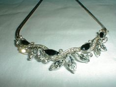 vintage trifari crystal necklace jet clear by qualityvintagejewels