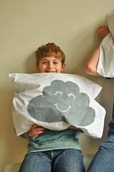Make Opposites Pillows | Simple Print Making: Glue Gun Stencils | happy or sad | laughing or sleeping | willowday