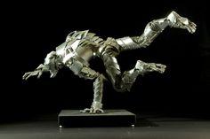 Pounce metal sculpture by Van Emnacen