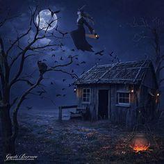 Magical Witch by apanyadong Halloween Artwork, Halloween Painting, Halloween Prints, Halloween Pictures, Halloween Wallpaper, Witch Pictures, Samhain Halloween, Scary Halloween, Vintage Halloween