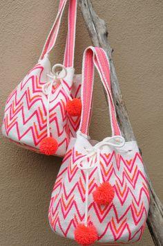 Hot Pink Boho Geometric Purse with Pom Poms // Wayuu Mochila Tote // Azulina…