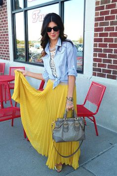 pleated skirt with blue jean shirt, who would have thought it'd work
