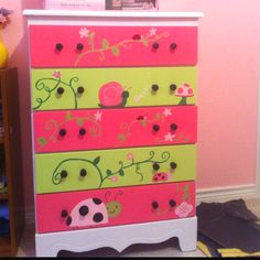 Baby girl dresser I did for my sis in law Baby Nursery Furniture, Baby Nursery Decor, Kids Furniture, Painted Furniture, Baby Girl Dresser, Pink Dresser, Painting Textured Walls, Dresser Inspiration, Baby Room Colors