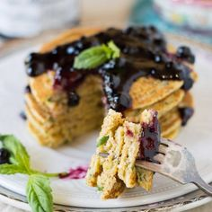 Perfect for brunch! These Basil Cornmeal Pancakes with Wild Blueberry Preserves are gluten free and vegan.