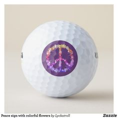 Peace sign with colorful flowers golf balls Peace On Earth, Golf Accessories, Golf Ball, Colorful Flowers, Cover Design, Golf Clubs, Flower Power, Balls, Signs