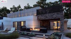 Zb22 - Nowoczesny bliźniak dwurodzinny z płaskim dachem oraz garażem dwustanowiskowym.