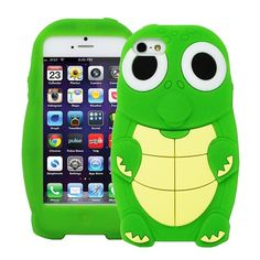 Cute 3D Cartoon Turtle Dinosaur Silicone Rubber Case Cover for iPhone 5/5S