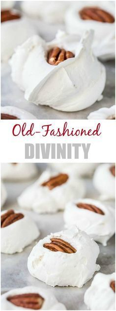 Nothing brings holiday cheer quite like Old-Fashioned Divinity. Soft and fluffy,… Nothing brings holiday cheer quite like Old-Fashioned Divinity. Candy Recipes, Holiday Recipes, Cookie Recipes, Dessert Recipes, Raw Recipes, Tea Cakes, Christmas Desserts, Christmas Treats, Christmas Cookies