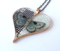 Handmade Open Bezel Mix Media Heart Pendant by ajunkersjournal on Etsy