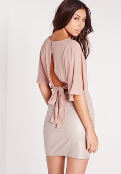 Missguided - Floaty Tie Back Crop Top Nude