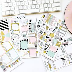 The NEW Charm & Print Planner Sticker kit in Pink, mint, and gold tones are sure to add a girly touch to your planner! ---------------------------------  This Set Includes:  5 total sheets of stickers (each sheet will be exactly as pictured above.) - 1 sheet of 8 full-sized boxes (sized to fit the Erin Condren Life Planner) - 1 Sheet featuring boxes, labels and box banners to help you keep track of your daily lists, errands, and much more. - 1 sheet with a weekend banner, 4 full sized list…