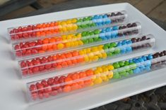 rainbow party favor (m or skittles) Rainbow Party Favors, Rainbow Treats, Rainbow Parties, Rainbow Birthday Party, Rainbow Theme, Kid Party Favors, Birthday Favors, Birthday Ideas, 7th Birthday