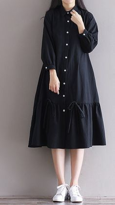 Women loose fit plus over size dress button maxi long sleeve tunic casual chic unbranded dress anyoccasion comfy but still polished Muslim Fashion, Hijab Fashion, Korean Fashion, Fashion Dresses, Stylish Dresses For Girls, Nice Dresses, Casual Dresses, Loose Dresses, Plus Dresses