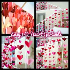 These easy 3-D heart garlands are inexpensive and easy way to DIY Valentine Decorations and spruce up your Valentine's party, wedding, or event.