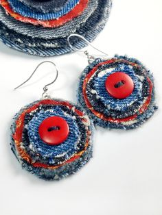Artsy Earrings, Button Jewelry, Upcycled Denim, Red and Blue Tiny Stud Earrings, Button Earrings, Blue Earrings, Cluster Earrings, Diy Denim Earrings, Unique Earrings, Fabric Earrings, Fabric Jewelry, Custom Jewelry