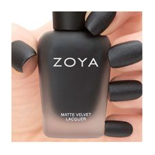 """Dovima"" by #Zoya can be best described as a smoky charcoal-black with strong silver shimmer and a velvety MATTE VELVET finish. This shine-free black is the must have shade for fall!"