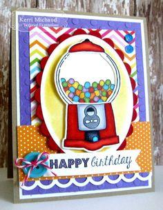 Gumball Birthday Card by Kerri Michaud #Cardmaking, #Birthday, #TEMatched, #EmbossingFolders, #ShareJoy, #TE