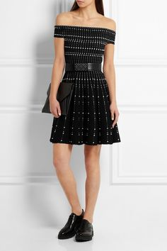 Alexander McQueen | Off-the-shoulder knitted mini dress | NET-A-PORTER.COM