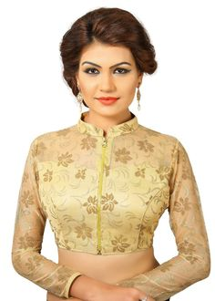 Gold Fancy Fancy Front Open Saree Blouse Choli Blouse Designs High Neck, Sari Blouse Designs, Saree Blouse Patterns, Choli Designs, Designer Blouse Patterns, Fancy Blouse Designs, Bridal Blouse Designs, Designs For Dresses, Lehenga Blouse
