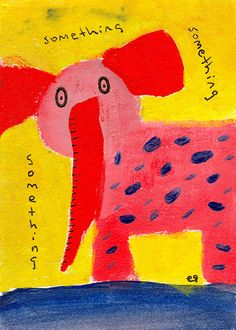 fear of forgetting e9Art ACEO Elephant Outsider Folk Art Brut Painting Illustration