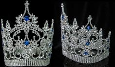 Continental Adjustable Contoured Blue Sapphire Crown Tiara Majestic, imperial, designed to impress and make everyone look your way. Specially made crown with a 'contoured' base which allows comfortabl