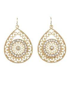 Gold Rhinestone Filigree  Teardrop Earrings by Charlotte Russe