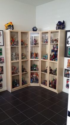 Hello and welcome to Shelf Porn. Today's collection comes from true-crime author and journalist Sean, who shares his and his wife's love of comics, art and professional wrestling. Lego Display, Display Shelves, Display Case, Display Ideas, Nerd Room, Nerd Cave, Gamer Room, Man Cave, Comic Book Storage