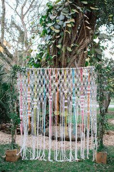 24 Summer Wedding Ideas to Copy for Your Own Celebration - Check out these steal-worthy summer wedding ideas, themes, and tips before you start planning your warm weather soirée. macramé wedding backdrop {Visual Narrative Design Studio}