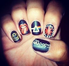 Nail polish: nails art nails stickers nails sticker nails goth hipster punk rock nirvana kurt cobain