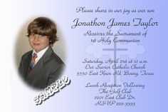 1st Holy Communion Cross Invitations Cross BLUE - Digital Download - Get these invitations RIGHT NOW. Design yourself online, download and print IMMEDIATELY! Or choose my printing services. No software download is required. Free to try! Holy Communion Invitations, Christening Invitations, Baptism Photos, Photo Invitations, Choose Me, Printing Services, Baby Names, Catholic, Software