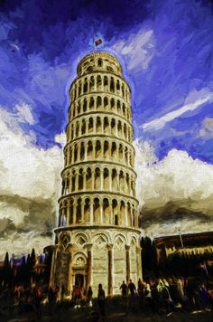 Leaning Tower Painting, Pisa, Italy.