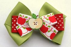 Green apple hair bow back to school accessories by mylittlebows, $7.50
