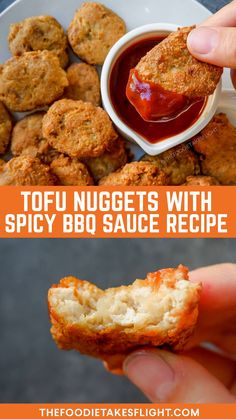 Tofu 'McNuggets' with Spicy BBQ Dip (Vegan Nuggets Recipe) The Effective Pictures We Offer You About tofu recipes videos A quality picture can tell you many things. You can find the most beautiful pic Vegan Foods, Vegan Snacks, Vegan Dishes, Vegan Vegetarian, Vegan Meals, Chicken Nugget Recipes, Tofu Recipes, Meatless Recipes, Wing Recipes