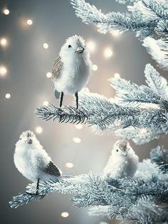 NEW Three Glittered Fluffy Standing Birds