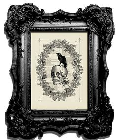 skull and raven print by BiloxiHousewife