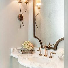 French Powder Room with Brass Accents, Transitional, Bathroom