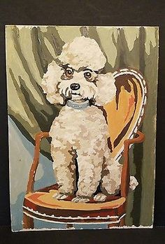SOLD   Vintage Raised 3-d Paint By Number Painting Poodle White Dog 1950's