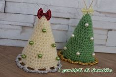 Alberello+di+Natale+a+cono+semplicissimo Indoor Christmas Decorations, Christmas Crafts, Xmas, Christmas Ornaments, Holiday Decor, Crochet Christmas, Christmas Trees, Knit Crochet, Crochet Hats